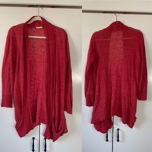 Eileen fisher 100% linen slouchy open cardigan red